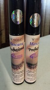 2 PACK  PROSA MASCARA PROFESIONAL 4 IN 1 EYELASHES LONGER AND THICKER FULL SIZE.