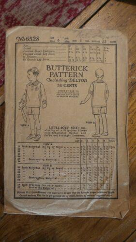 1923 Antique Sewing Pattern BUTTERICK #6528 Little Boys