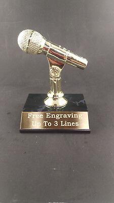 MICROPHONE TROPHY MUSIC KARAOKE AWARD. FREE CUSTOM ENGRAVING - Microphone Trophies