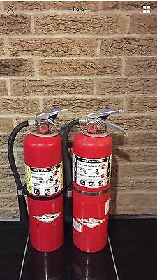 SET OF (2) REFURBISHED 10lb ABC FIRE EXTINGUISHERS CERTIFIED TAG SCRATCH & DIRTY