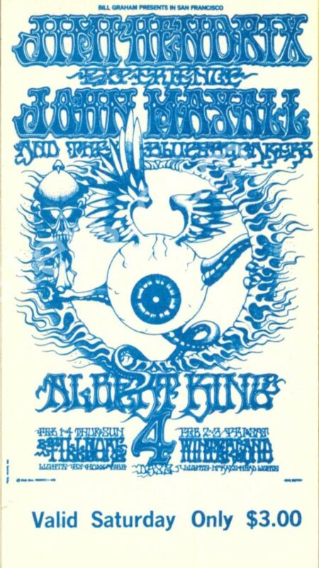 4pcs JIMI HENDRIX EXPERENCE 1968 FILLMORE WEST ORIGINAL VINTAGE CONCERT TICKETS