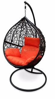 Bareoutdoors Black Hanging Egg Chair -  Orange Cushion Keilor Park Brimbank Area Preview