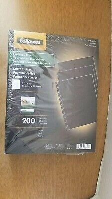 Fellowes Binding Linen Presentation Covers Letter Size 8.5 X 11 Black 200 Pack
