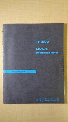 Marconi Tf 2300 Fmam Modulation Meter Instruction Manual Oem 5f B3