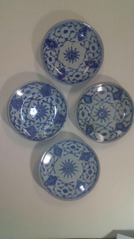 ANTIQUE MING PERIOD CHINESE KRAAK PORCELAIN RARE SET OF 4 PLATES MATCHED