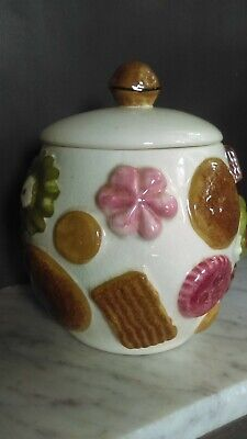 Antique Cookie Jar Los Angeles California Pottery Cookies All Over Walnut 1960s
