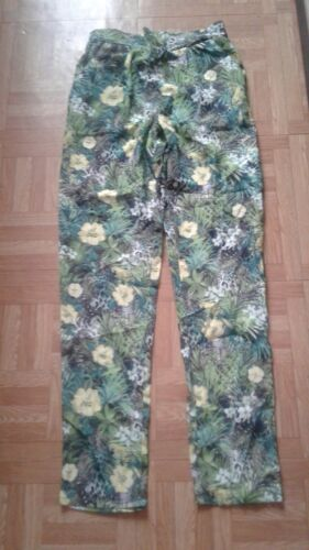 Pantalon fluide léger fleuri vert taille xs