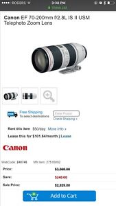 Canon 70-200 mkII is usm excellent condition