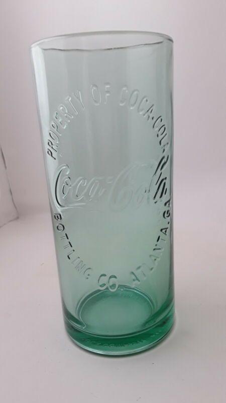 2 COCA COLA 16 oz tall heavy water glasses 2009 pale green