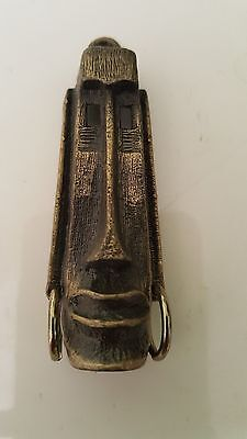 Vintage Elongated  Brass African  Mask Pendant Jewelry  Supplies
