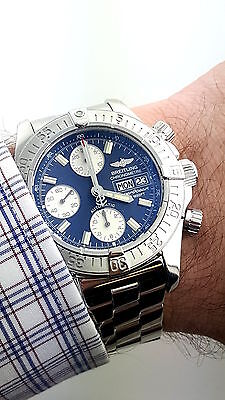 Breitling SuperOcean Chronograph Day Date 42mm Blue  Automatic Watch  A13340
