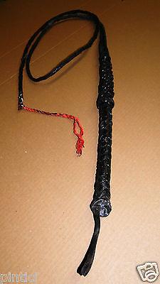 Peitsche,Bullen- Lederpeitsche Whip Lederriemen Geißel Ziemerschwarz 195 cm BDSM
