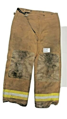 34x30 Globe Brown Firefighter Bunker Turnout Pants Yellow Reflective Tape P1185