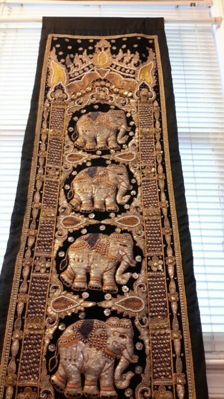 Vintage Thai Burmese KALAGA Elephant TAPESTRY Hand Embroidered Wall Hanging