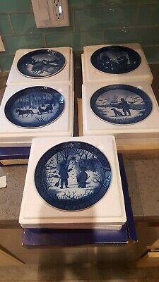 Lot Of 5 ROYAL COPENHAGEN Porcelain Christmas Plates~Made In Denmark~EUC