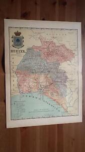 1903 MAPA de Huelva 1901 por Benito Chias y Carbo Spain Map