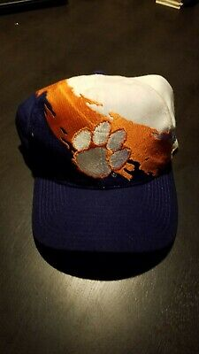 Clemson Tigers Logo Athletic Spalsh paint snap back vintage hat. RARE. 1990s