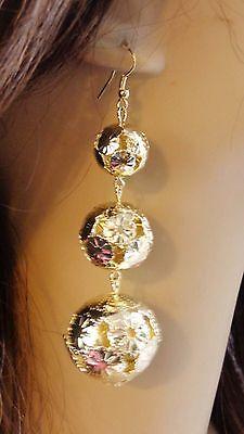GOLD BALL EARRINGS GOLD TONE DANGLE EARRINGS TIER EARRINGS 4 INCH LONG Ball Dangle Earrings Jewelry