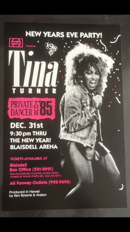 TINA TURNER 1985 ORIGINAL VINTAGE HAWAII CONCERT POSTER
