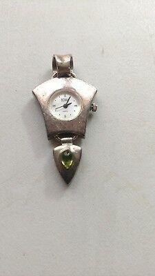Estate Sterling Silver 925 Gem Ladies Watch Pendant 19gm