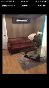Attica leather couch and chair set