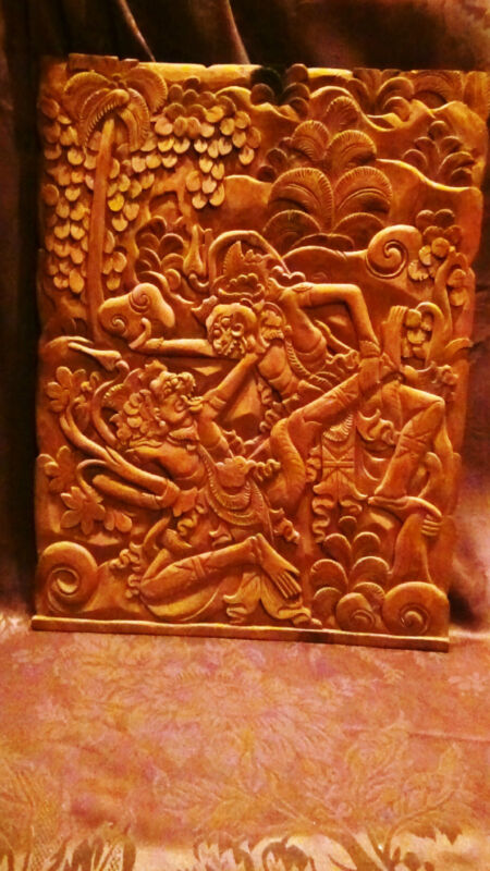"""ANTIQUE 18C ASIAN WOOD HAND CARVED WALL PLAQUE""""TWO  FIGHTING WARRIOR """""""