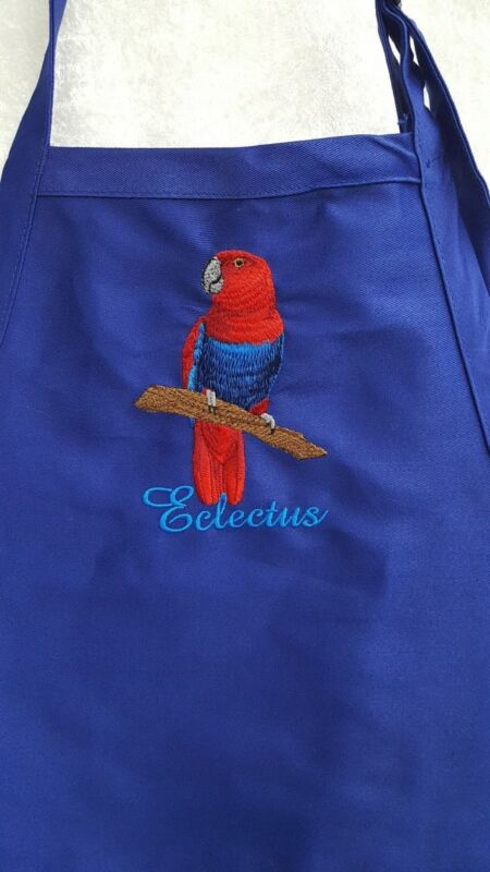Eclectus Parrot Female, Bird Embroidered on A Royal Blue Apron