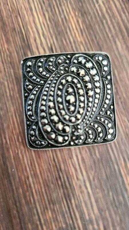 """1.25"""" silver tone macarsite scarf clip fashion jewelry"""