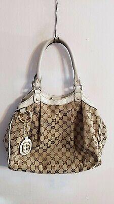 Gucci Sukey GG Beige Canvas Vanilla Leather Tote Purse Bag Handbag Cute ()