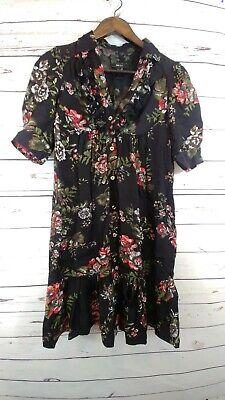 MNG Suit Black Floral Button up Dress Womens Size - 4 Button Black Dress Suit