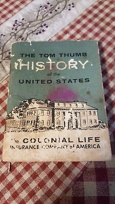 Tom Thumb History of the United States Mini-Book Colonial Life Insurance 1960