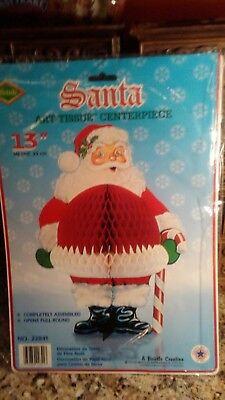 Vintage 1978 BEISTLE  SANTA ART-TISSUE CENTERPIECE Christmas DECORATION  SEALED! - Christmas Centerpiece Decorations