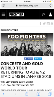2 X Foo Fighters A reserve seating tickets