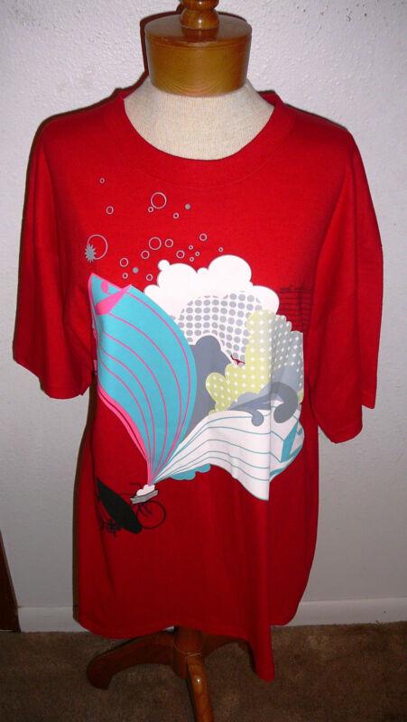 RUSTY (Surf Boards) T-SHIRT~Short Sl.~Red Print Design~Miss XL~NWT~FREE SHIP