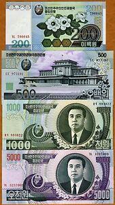 Set-North-Korea-200-500-1000-5000-won-2005-2007-UNC