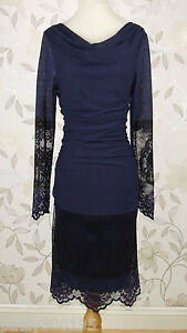 Gorgeous BNWOT Phase Eight DELICATE LACE Sapphire Blue Lace Dress Size 16
