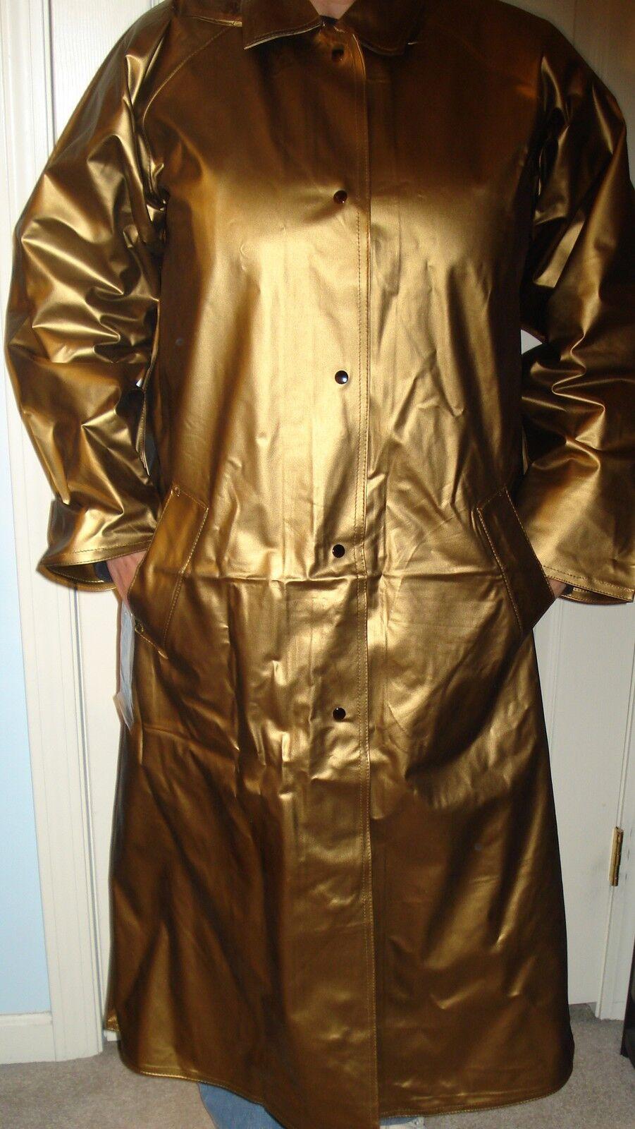 Nwt's Woman's 100% Heavy Vinyl Long Raincoat By Shedrain Corporation Size M