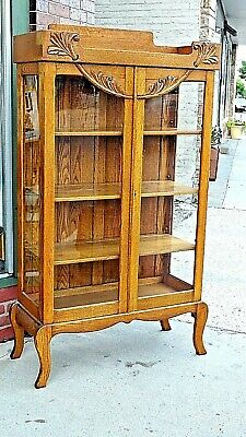 Arts & Crafts Mission Antique Oak Double door China display cabinet bookcase   Oak Double Door Cabinet