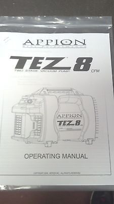 Appion Tez 8 Two Stage Vacuum Pump 8 Cfm Star Performance Owners Manual