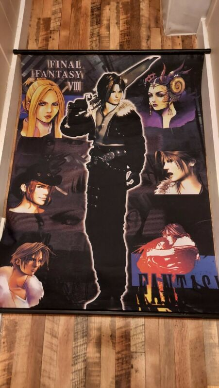 FINAL FANTASY VII 8 SQUALL LEONHEART QUISTIS EDEA IRVINE WALL SCROLL 1999 44x31