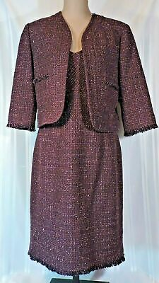 NEW Jones New York Dress and Jacket Suit Size 12 PURPLE WOOL Blend TWEED LINED ()