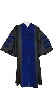 Doctoral Gown with Velvet Stripes- Different colors and sizes available