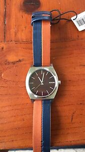 Nixon The Time Teller Watch Minimal leather dark cooper navy Tugun Gold Coast South Preview