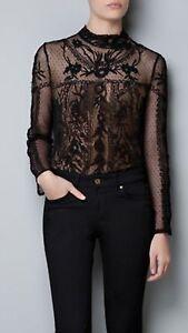 Zara Black Lace Blouse 32