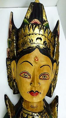 """Vintage Balinese Hand Carved & Painted """"Dewi Sri"""" Goddess Wall Hanging Sculpture"""