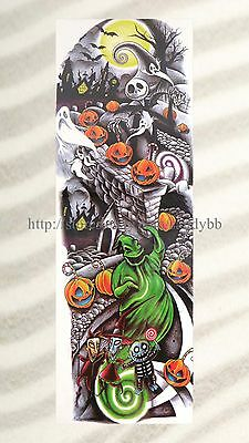 US SELLER- Halloween pumpkin fake tattoo extra long 18