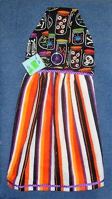 **NEW** Halloween Potion Ingredients Striped Hanging Kitchen Hand Towel #1461 - Halloween Potion Ingredients