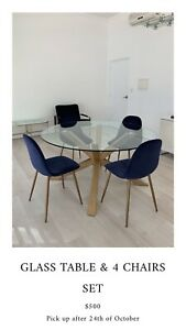 Freedom Glass Round Dining Table with free Chairs