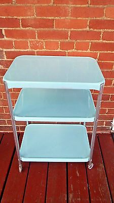 Vtg Powder Blue COSCO 3 Shelf Metal ROLLING SERVING CART Kitchen Utility Retro