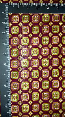 """NOS VTG Apparel Lining PRINTED CREPE FABRIC Red/Green/Gold/Pink 3 Yards x 45"""""""